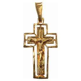 Crucifix argent doré avec bordure s1