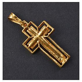 Crucifix argent doré avec bordure s3