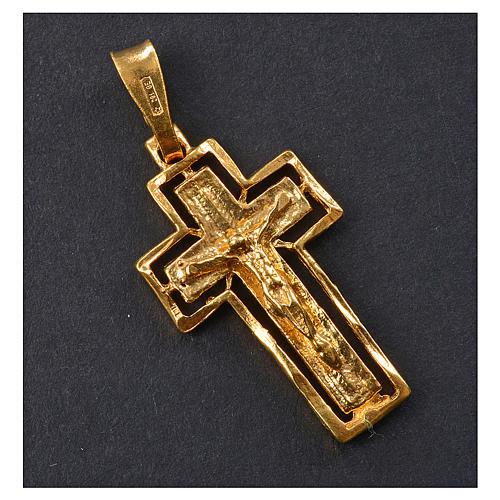 Crucifix argent doré avec bordure 2