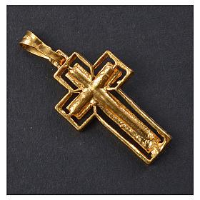 Croce dorata Argento 925 con riquadro s6