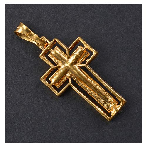 Croce dorata Argento 925 con riquadro 6