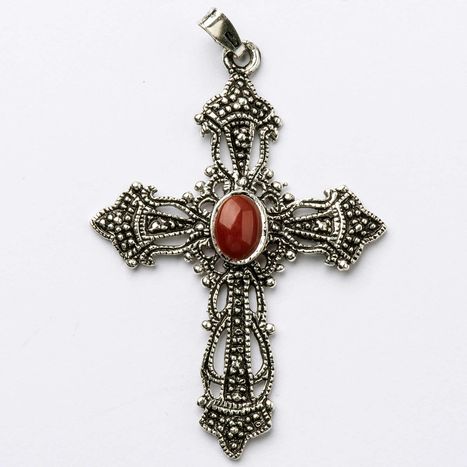 Croix argent bruni et corail 4