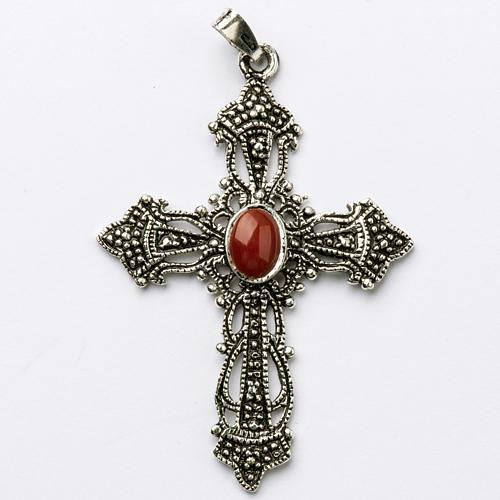 Croix argent bruni et corail 1