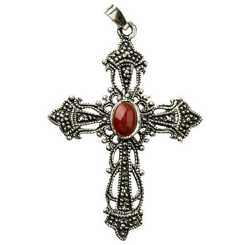 Croix argent bruni et corail 2