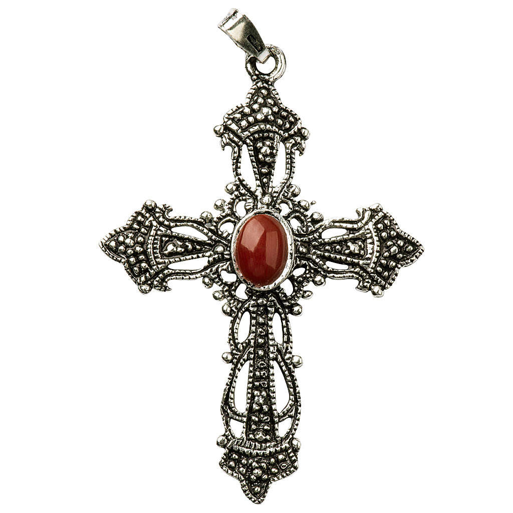 Croce Argento brunito e Corallo 4