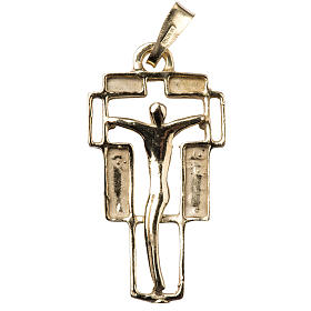 Pendant crucifix in gold-plated silver, modern s1