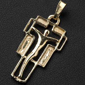 Pendant crucifix in gold-plated silver, modern s2