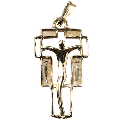 Pendant crucifix in gold-plated silver, modern 1