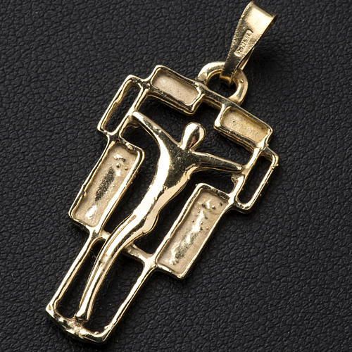 Pendant crucifix in gold-plated silver, modern 2