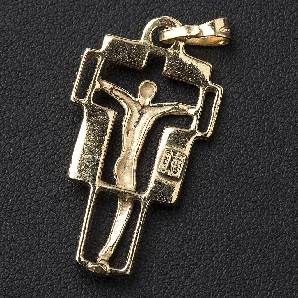 Pendente croce moderna dorato 4