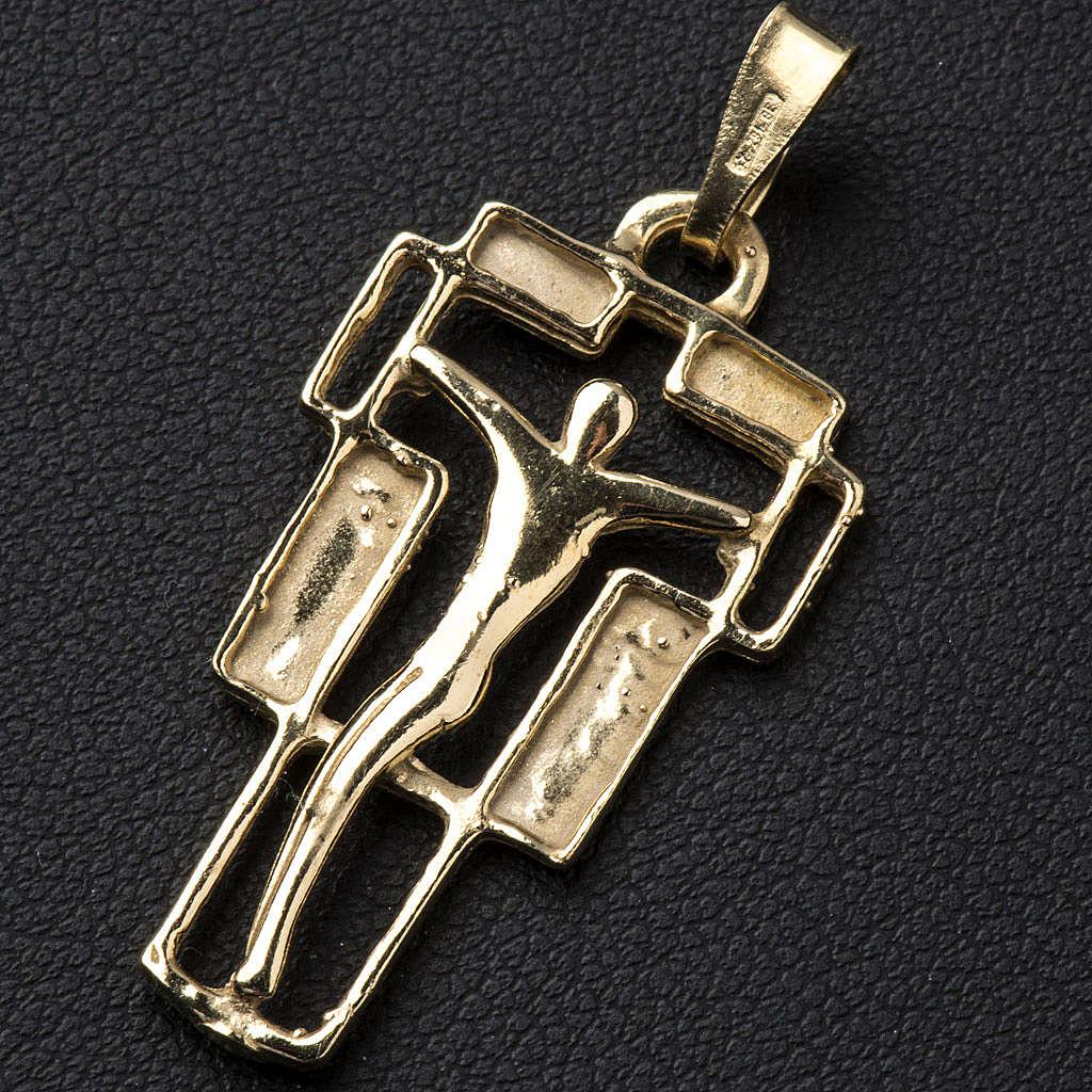 Zawieszka krzyż nowoczesny złocony 4