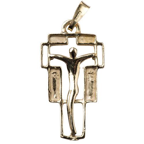 Zawieszka krzyż nowoczesny złocony 1