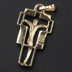 Pendant crucifix in gold-plated silver, modern s3