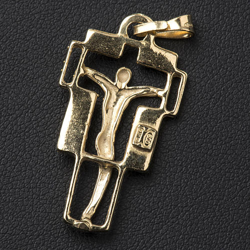 Pendant crucifix in gold-plated silver, modern 3