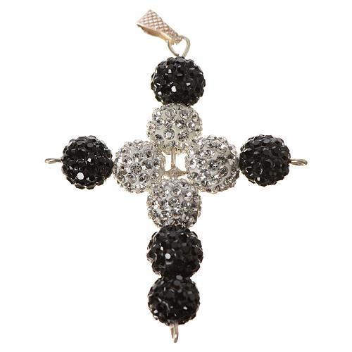 Croix avec perles Swarovski 5x4 cm 1