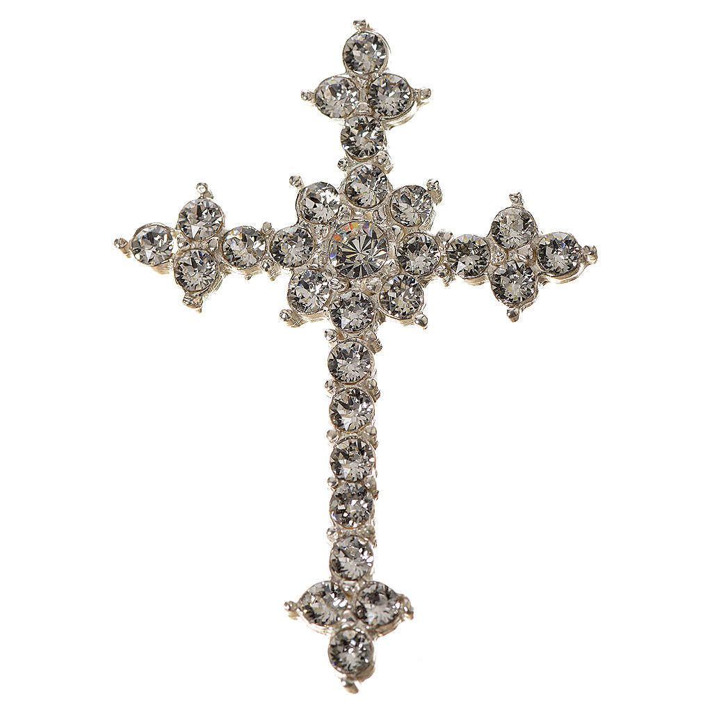 Cruz de Plata 925 y  strass de 3.5x4,5 cm 4