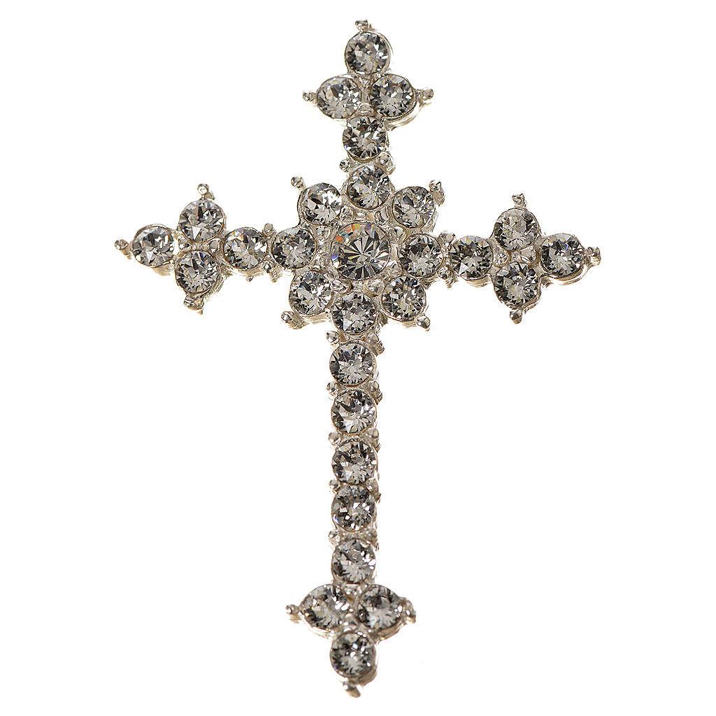 Pendant cross in silver and rhinestone 3,5 x 4,5 cm 4
