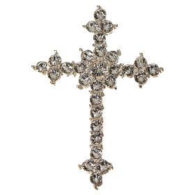 Pendant cross in silver and rhinestone 3,5 x 4,5 cm s9
