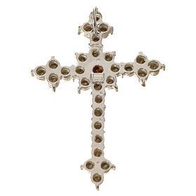 Pendant cross in silver and rhinestone 3,5 x 4,5 cm s10