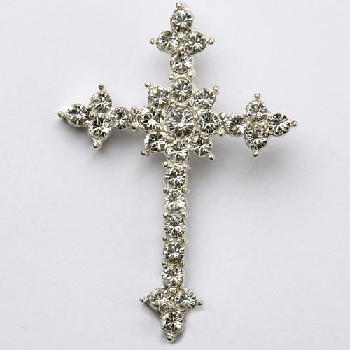 Pendant cross in silver and rhinestone 3,5 x 4,5 cm 1