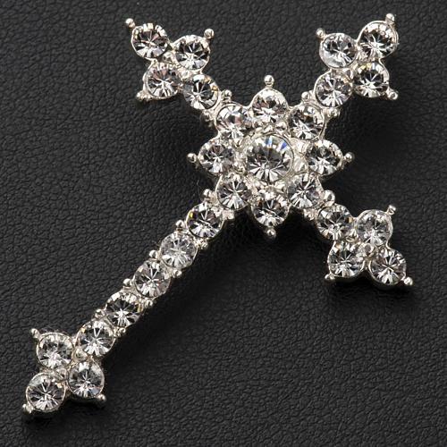 Pendant cross in silver and rhinestone 3,5 x 4,5 cm 3