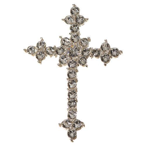 Pendant cross in silver and rhinestone 3,5 x 4,5 cm 2