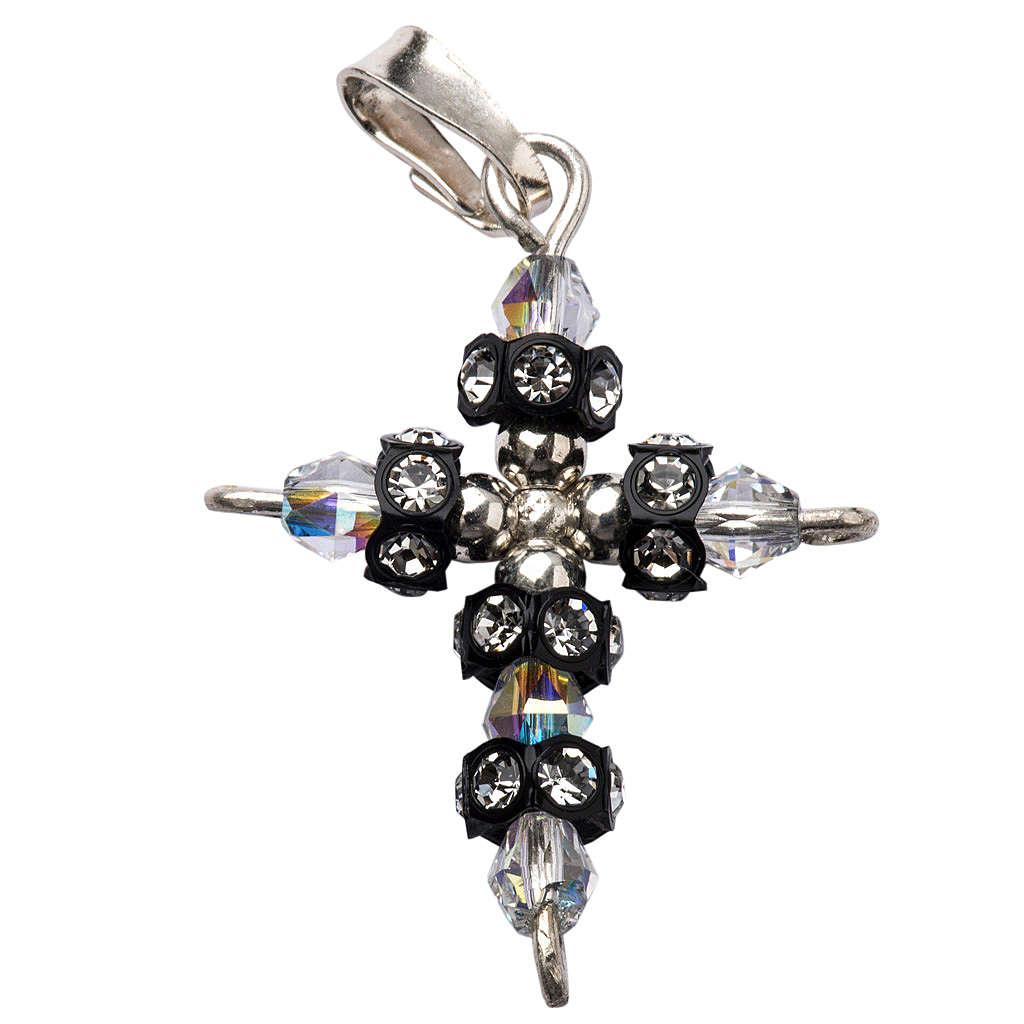 Pendant cross in silver and Swarovski 2x3 cm 4