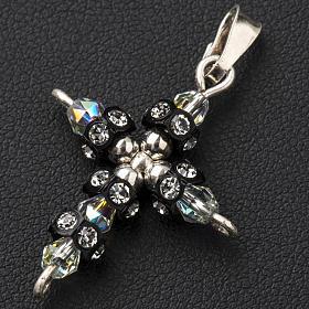 Pendant cross in silver and Swarovski 2x3 cm s2