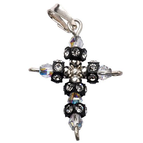 Pendant cross in silver and Swarovski 2x3 cm 1