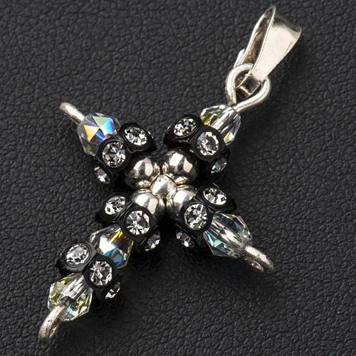 Pendant cross in silver and Swarovski 2x3 cm 2
