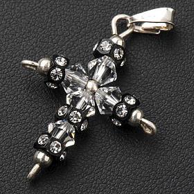 Croix argent 800 et Swarovski 2,3x3,5 cm s2