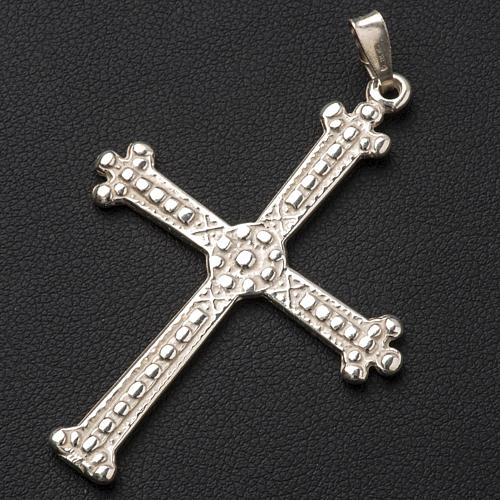 Pendant cross in silver, budded, 5x3,5 cm 2