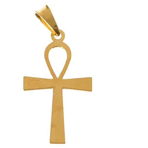 Cruz de la vida dorada de plata 925 5