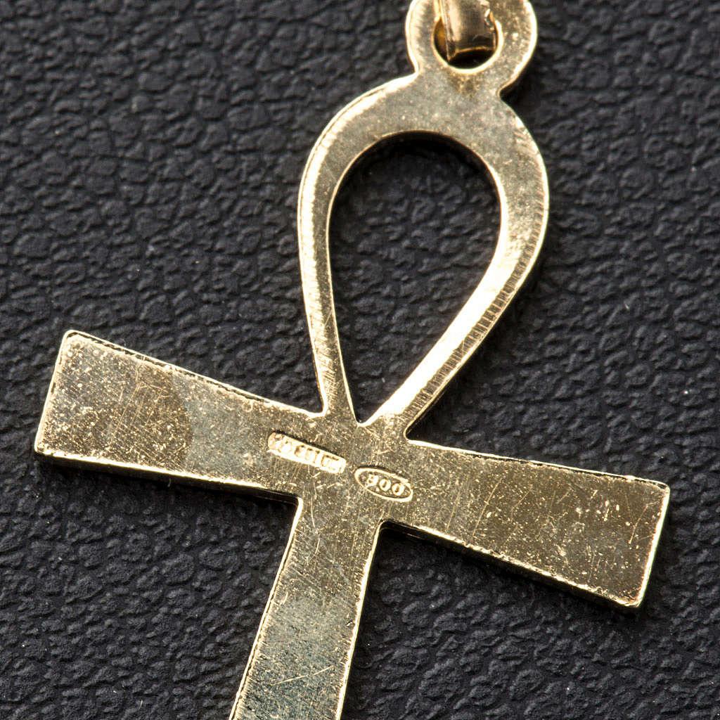 Croce della vita Argento 925 dorata 4