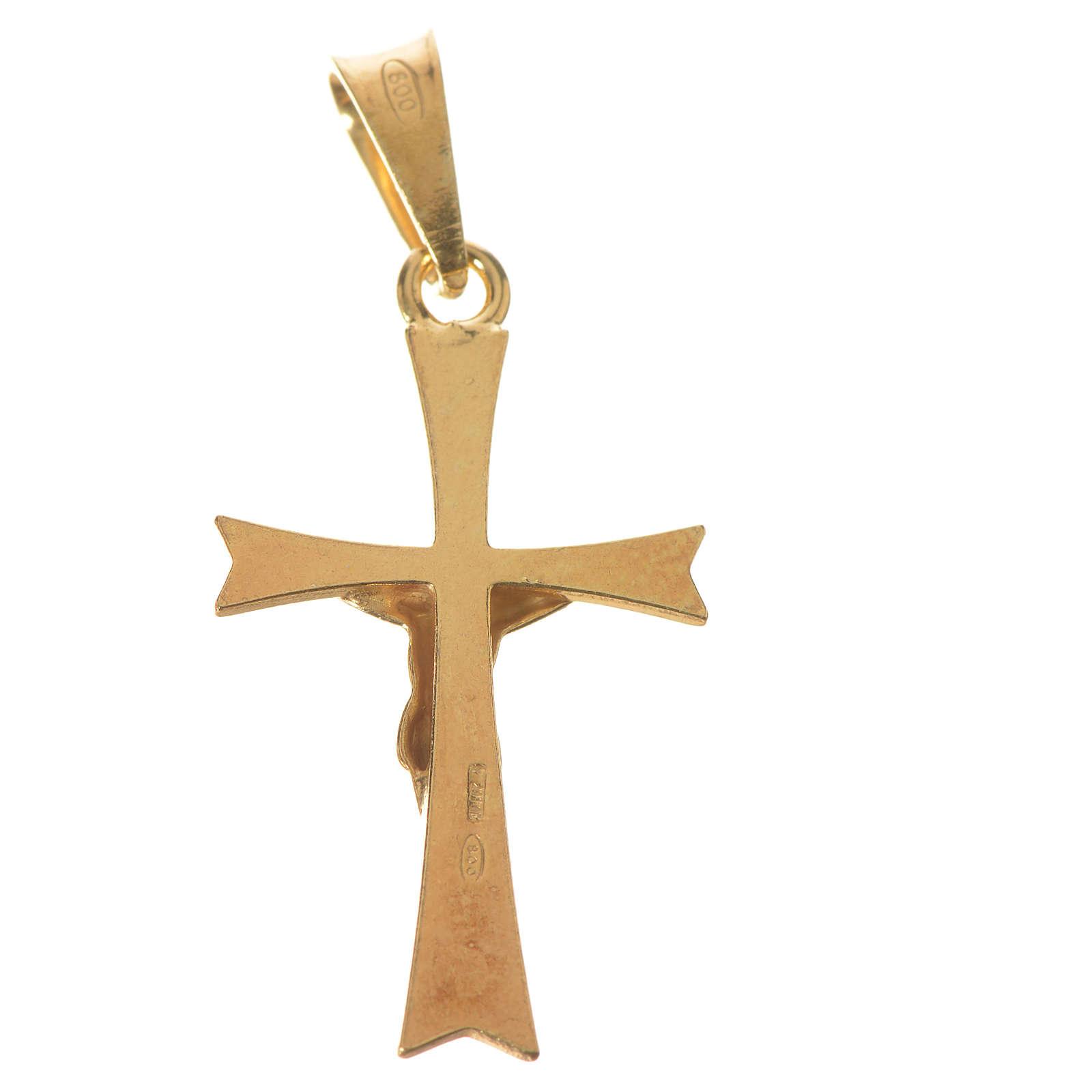 Ciondolo crocefisso Argento 925 dorato 4