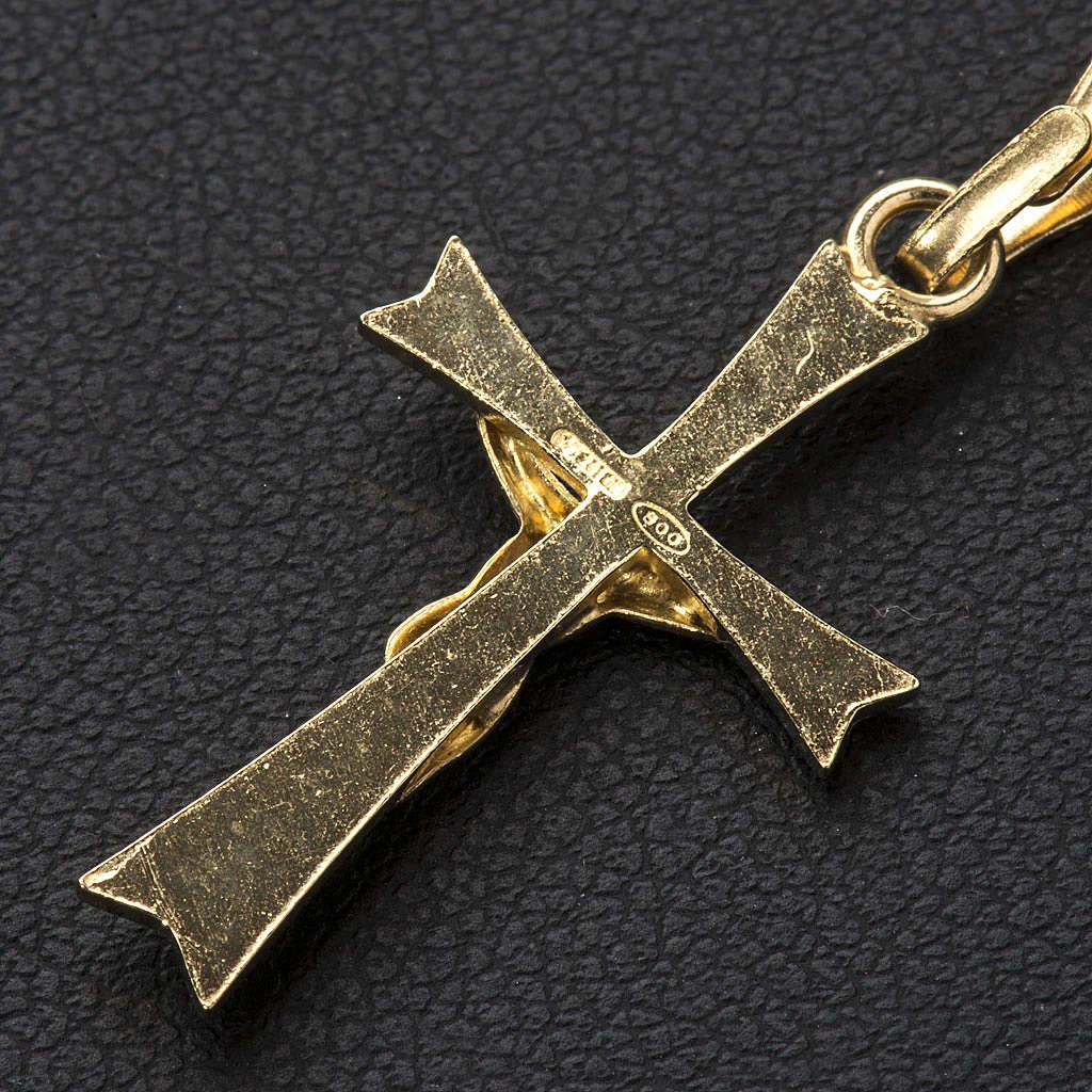 Ciondolo crocefisso Argento 800 dorato 4
