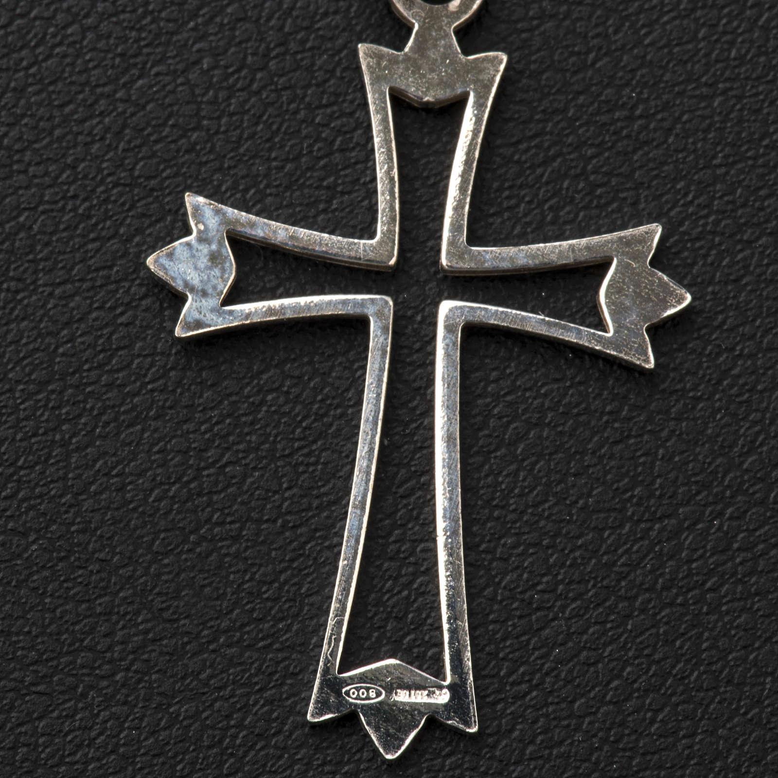 Pendant cross in 800 silver, outline 4