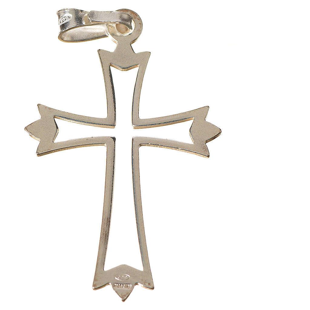Pendant cross in 925 silver, outline 4