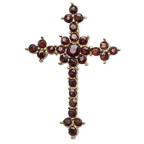 Croce pendente con granato taglio brillante 1