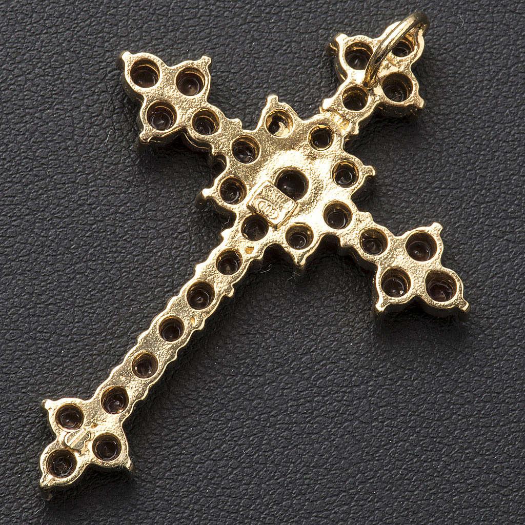 Pendant cross in silver and garnet, round brilliant cut 4