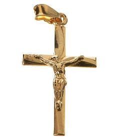 Pendentif croix argent 925 doré 3x2 s4