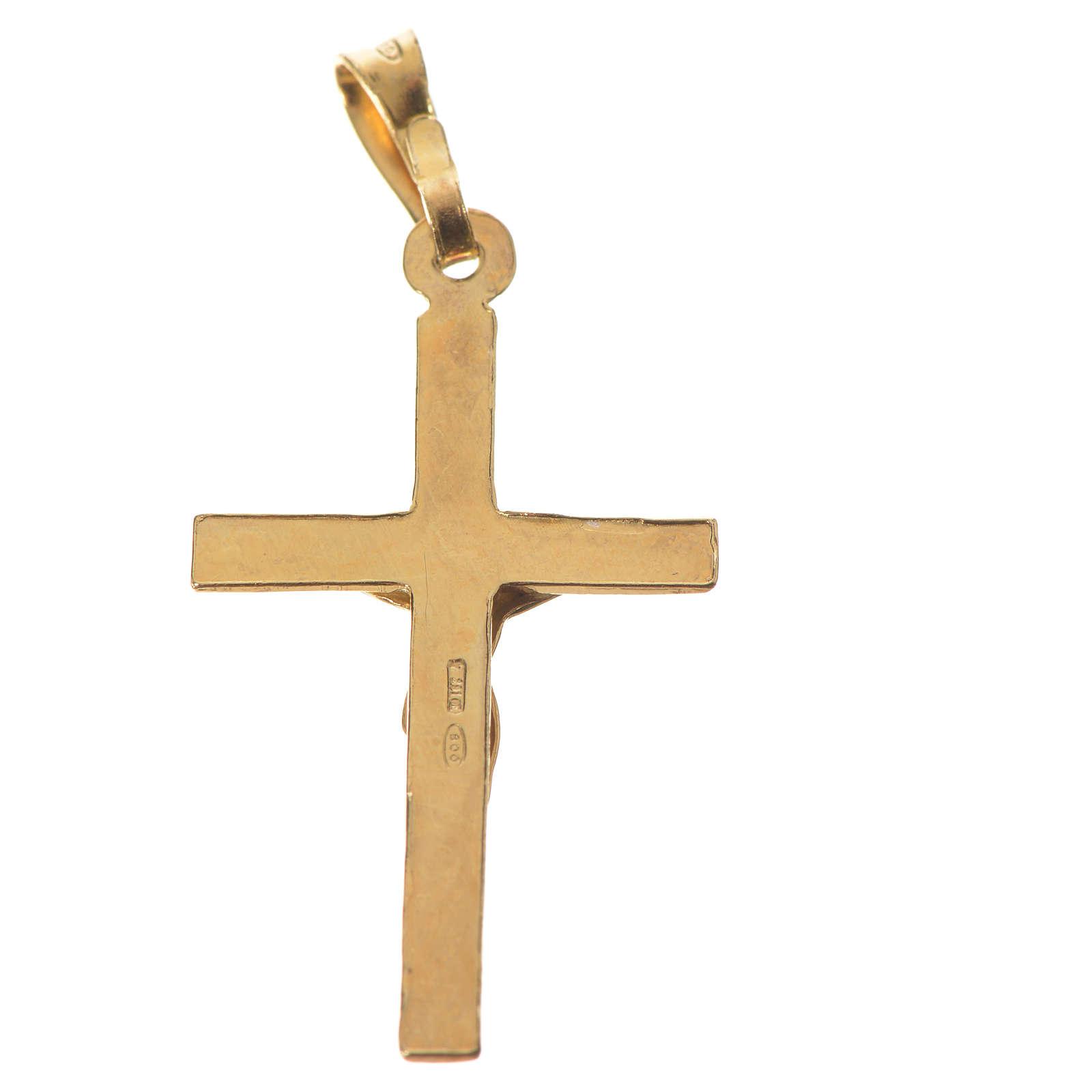 Ciondolo crocefisso 3x2 cm Argento dorato 4