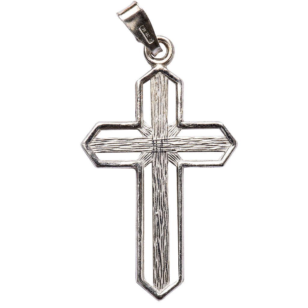 Crucifijo de plata efecto rayas 4