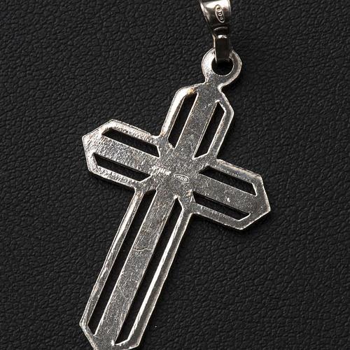 Crucifijo de plata efecto rayas 3