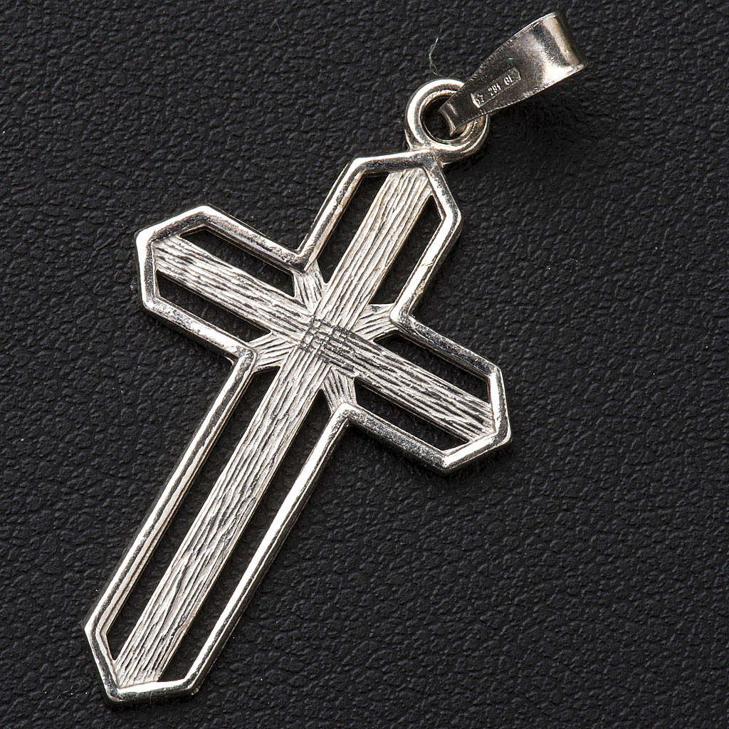 Pendant cross in 800 silver worked in the central part 4