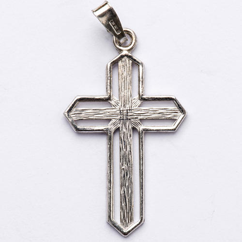 Pendant cross in 800 silver worked in the central part 1