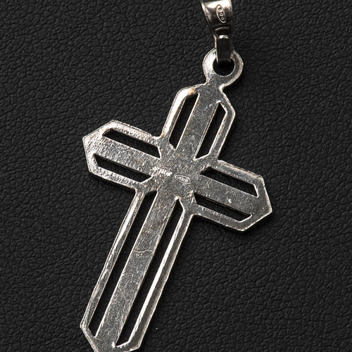 Pendant cross in 800 silver worked in the central part 5