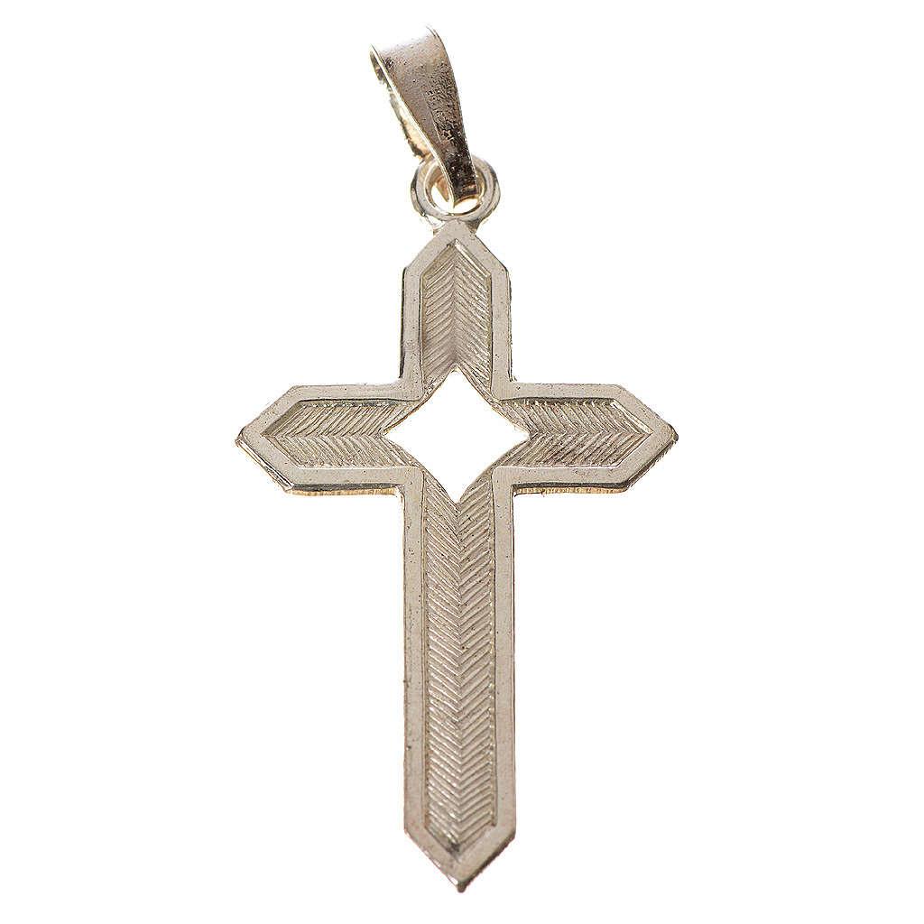 Pendant cross in 800 silver 2x3 cm, herringbone pattern 4