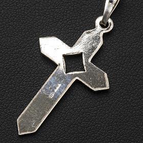 Pendant cross in 800 silver 2x3 cm, herringbone pattern s5
