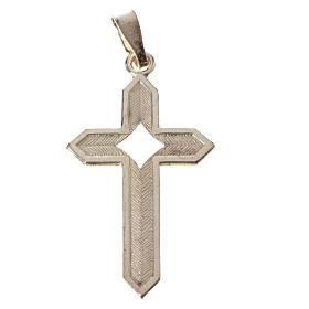 Pendant cross in 800 silver 2x3 cm, herringbone pattern s7